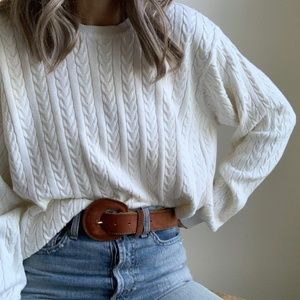 Vintage Izod Cable Knit Slouchy Knit Sweater